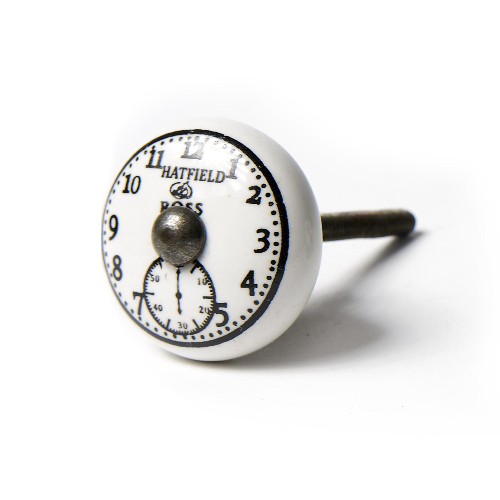 Tirador reloj números esfera blanca