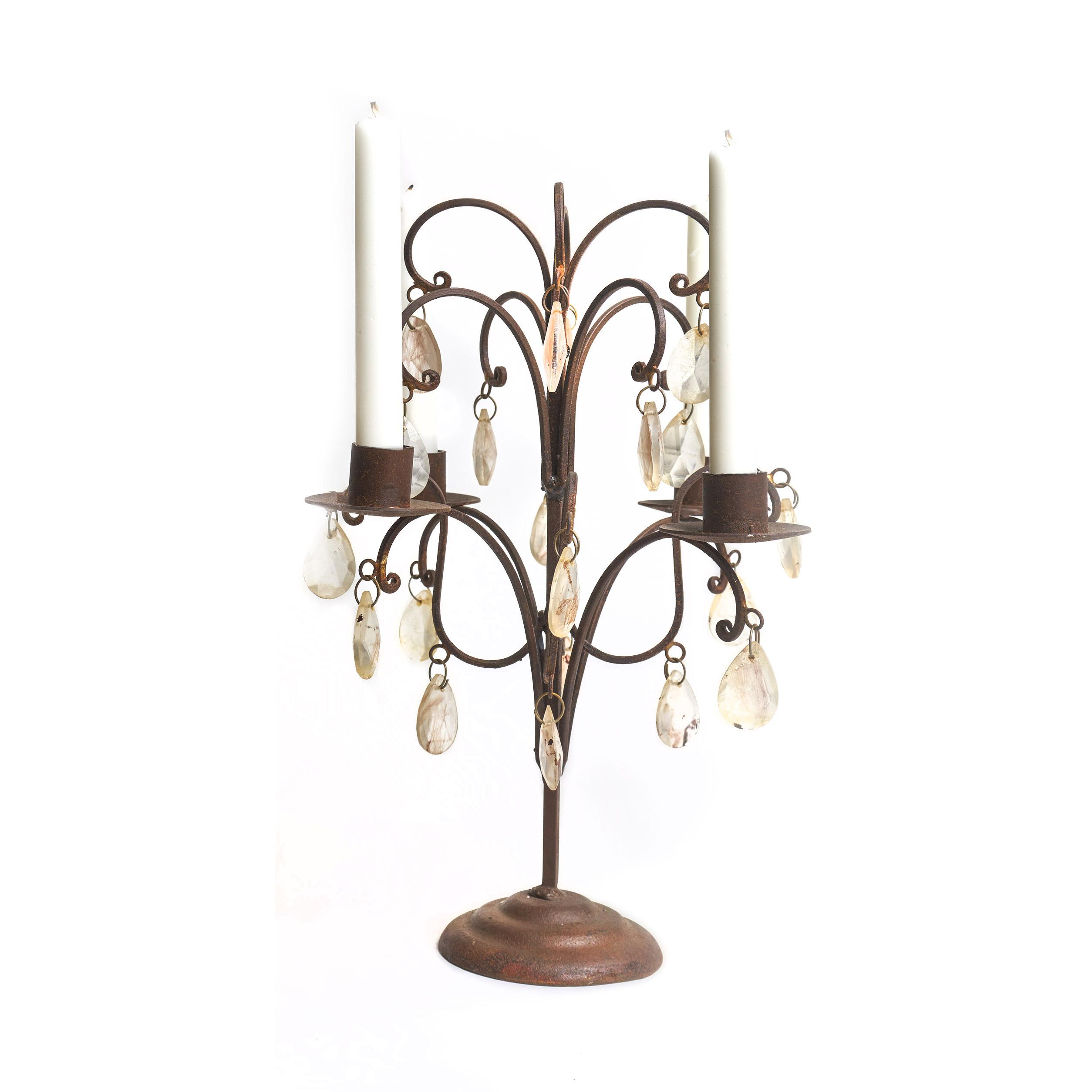 Candelabro de metal con caireles,para cuatro velas