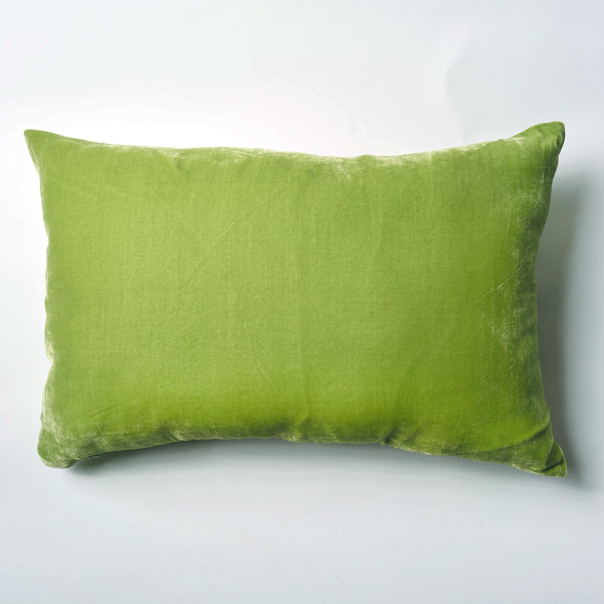 SALE! Almohadón de terciopelo, rectangular, verde manzana