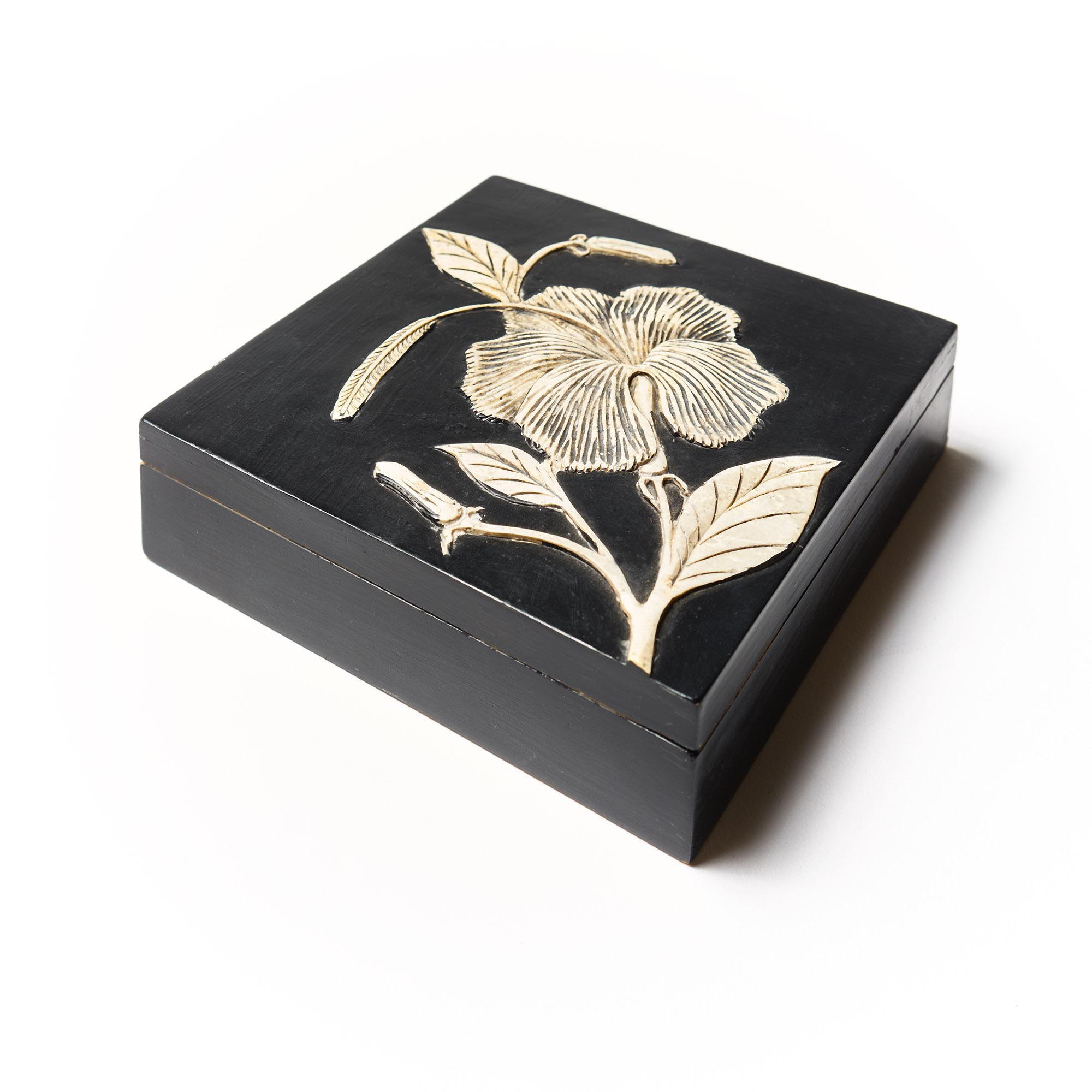 Caja piedra cuadrada negra Hibisco