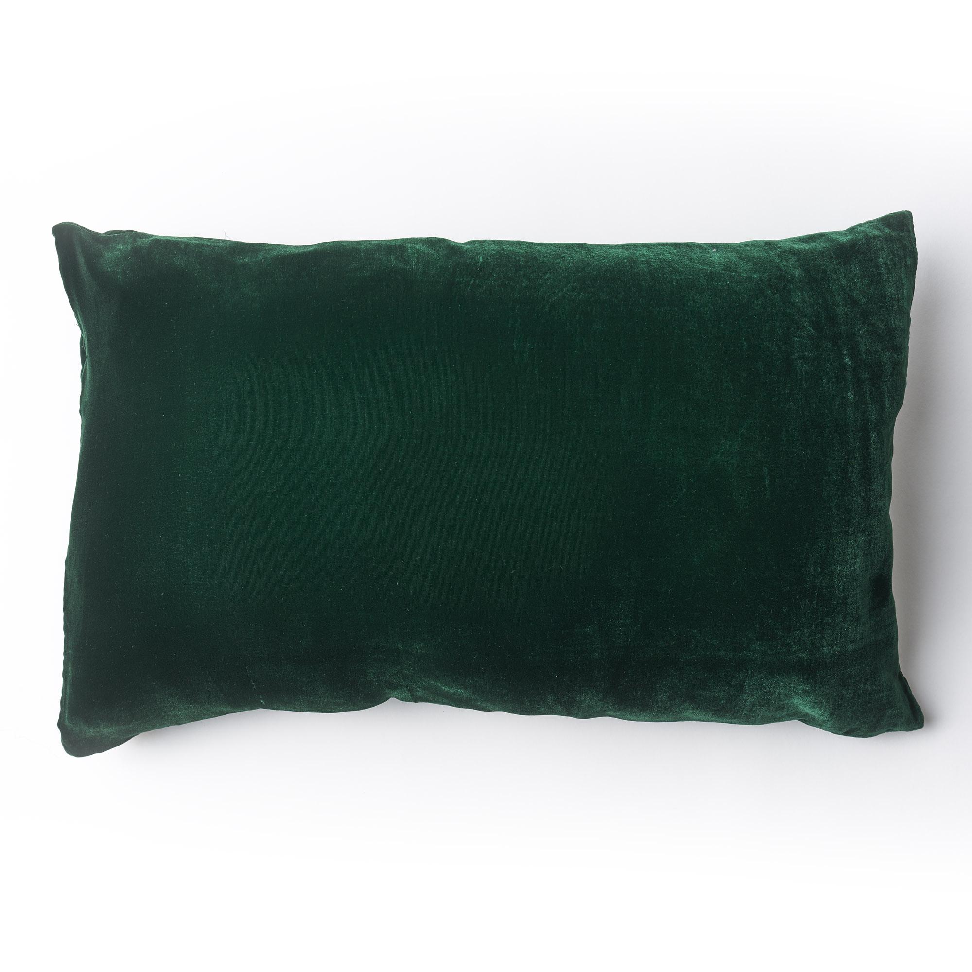 Almohadón de terciopelo, rectangular, verde inglés
