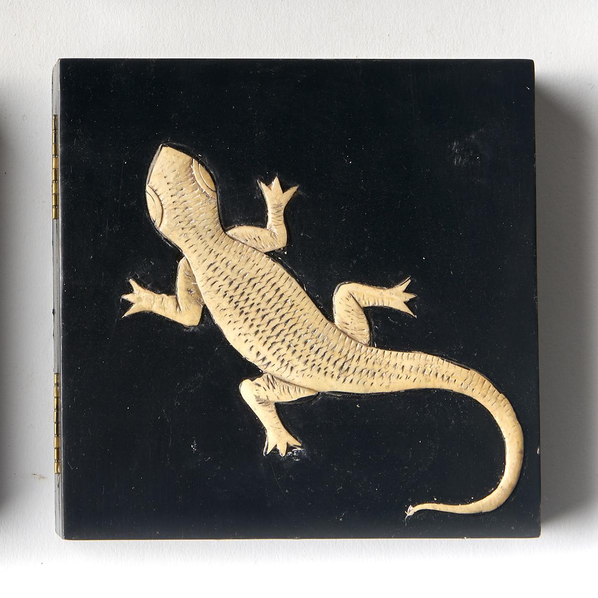 Caja cuadrada negra lagartija