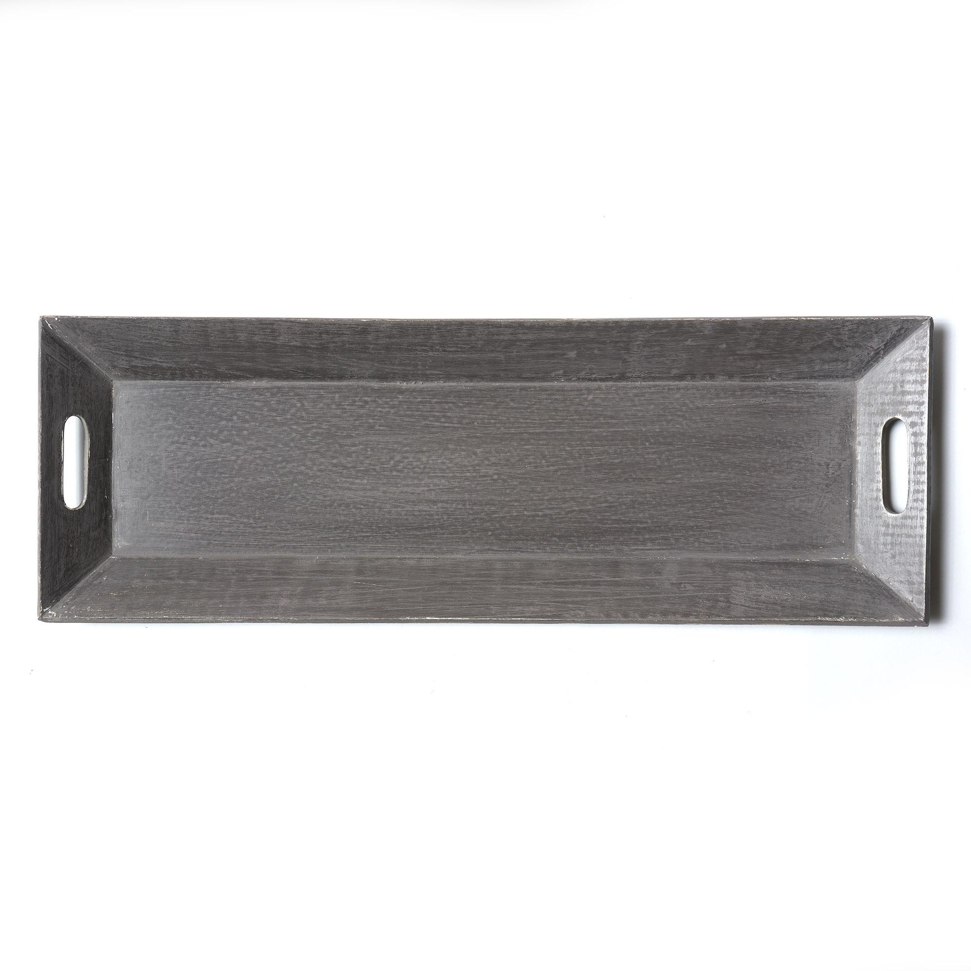 Bandeja de madera patinada gris 29 x 72 cm