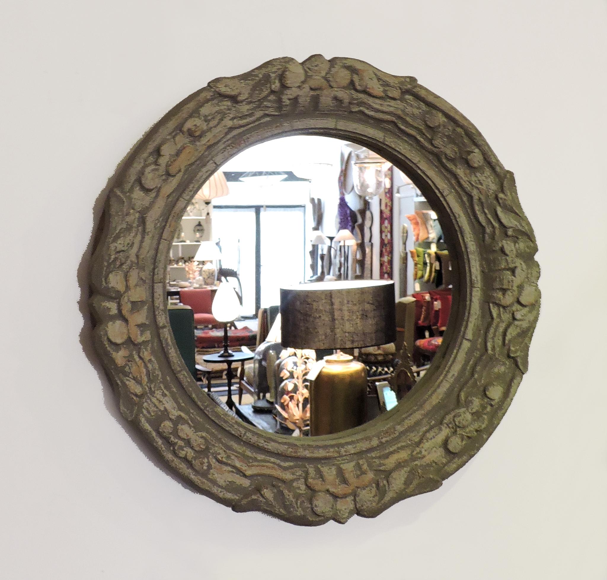 Espejo redondo de madera patinada