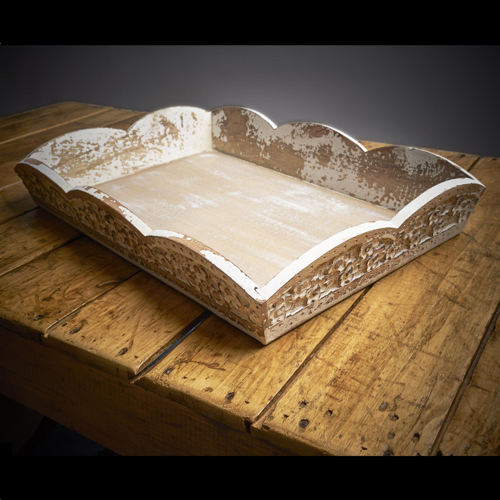 Bandeja de madera patinada 31 x 45 cm