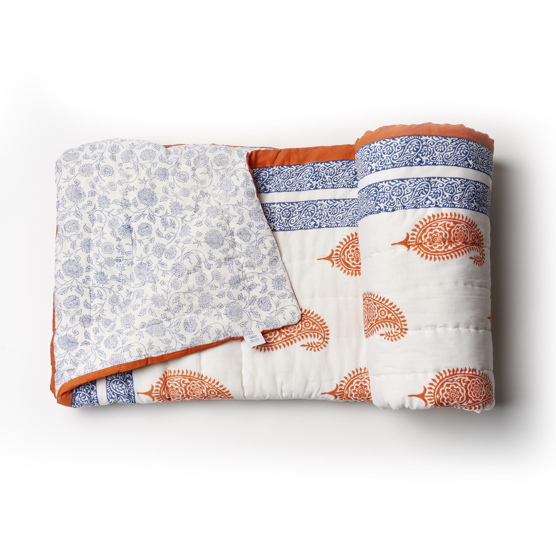 Acolchado reversible de algodón, azul y bermellón con 2 fundas de almohada