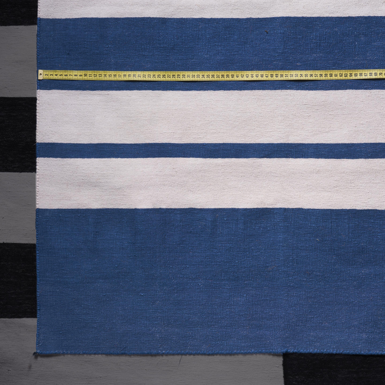Alfombra Dhurrie algodón, azul y blanco