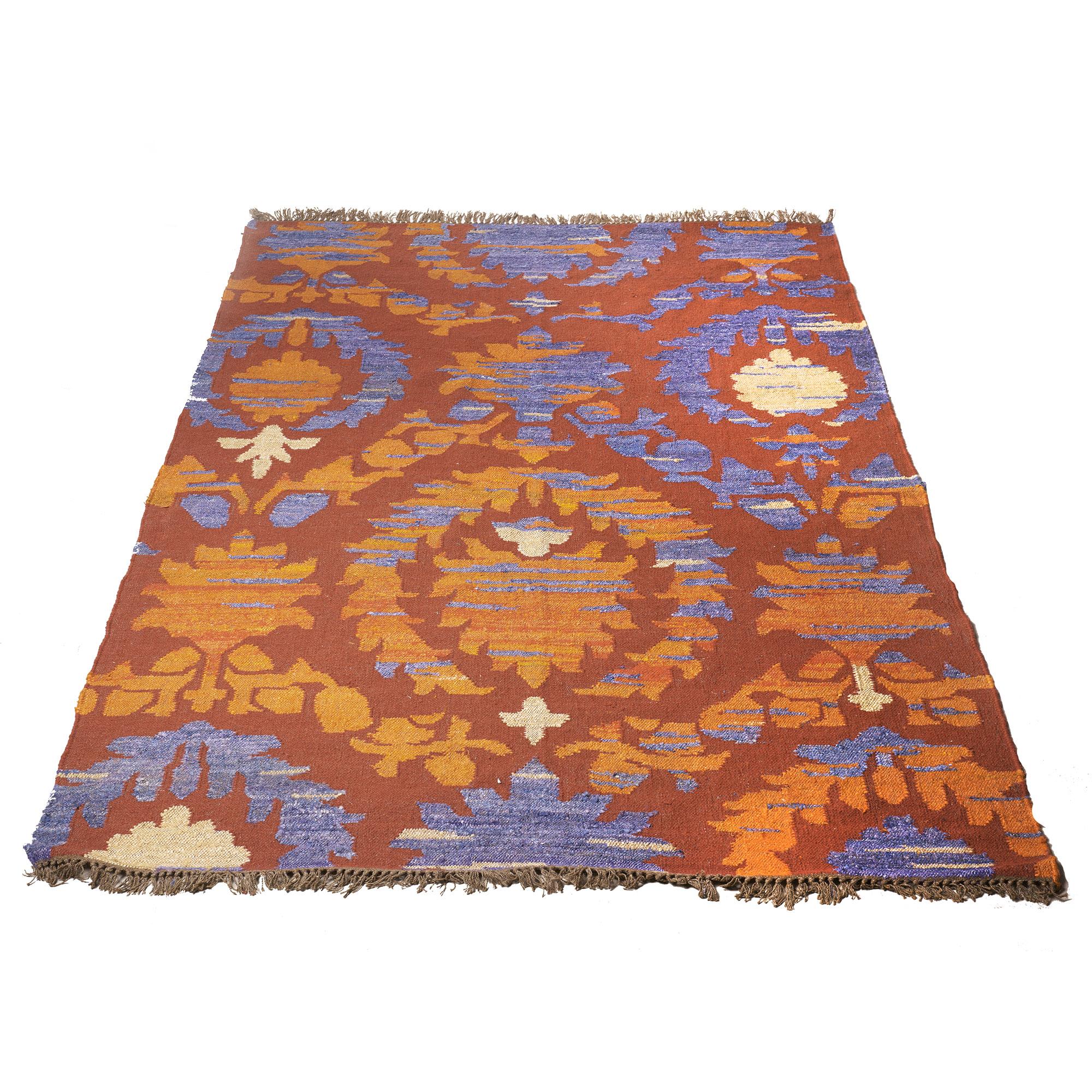 Alfombra de lana y seda, rojo, naranja, y violeta 2.00 x 3.00 m