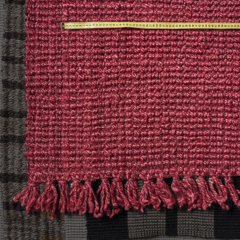 Alfombra de yute lisa roja con flecos 0.90 x 1.60 m