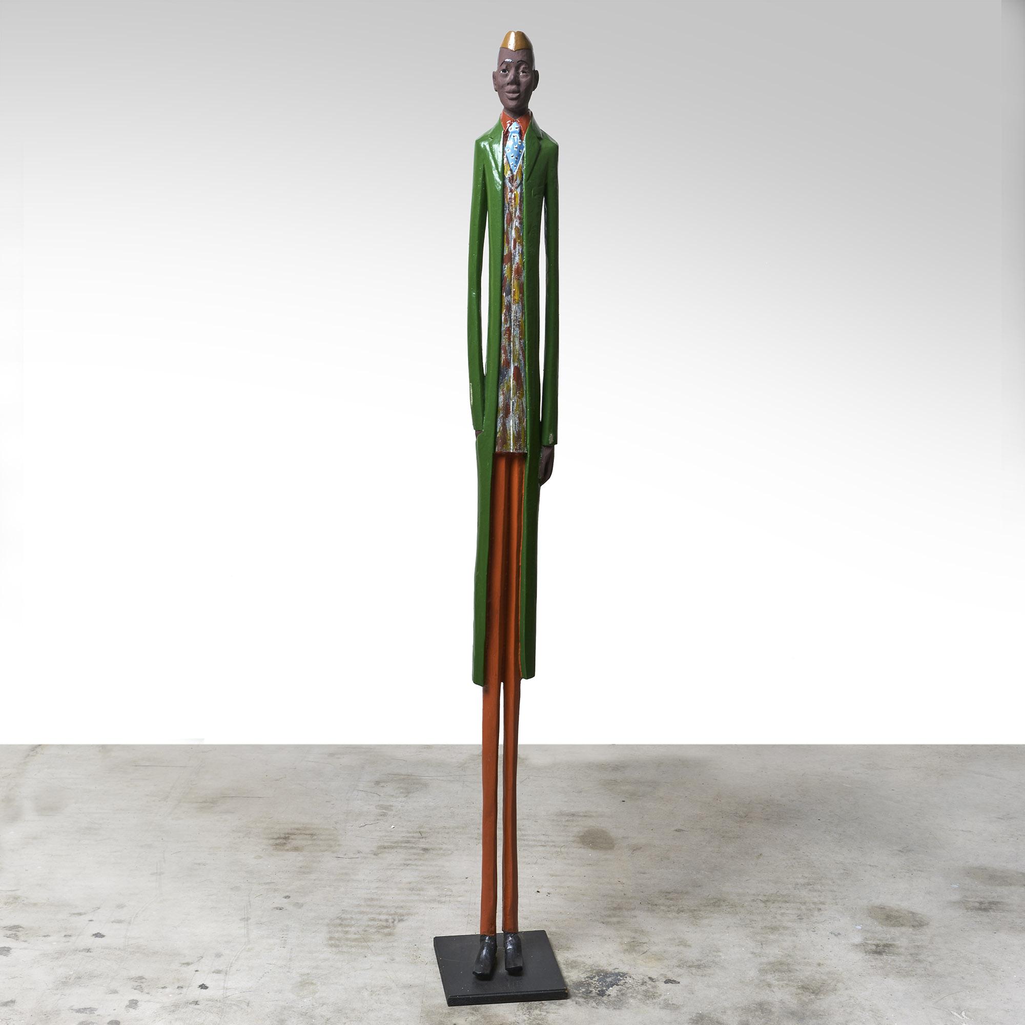 "Figura de madera africana ""Hombre de negocios """