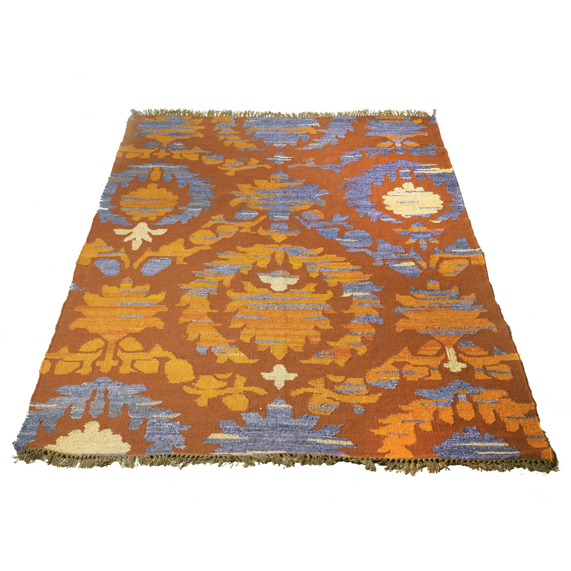 Alfombra de lana y seda, azul, rojo, naranja, y violeta 1.80 x 2.50 m