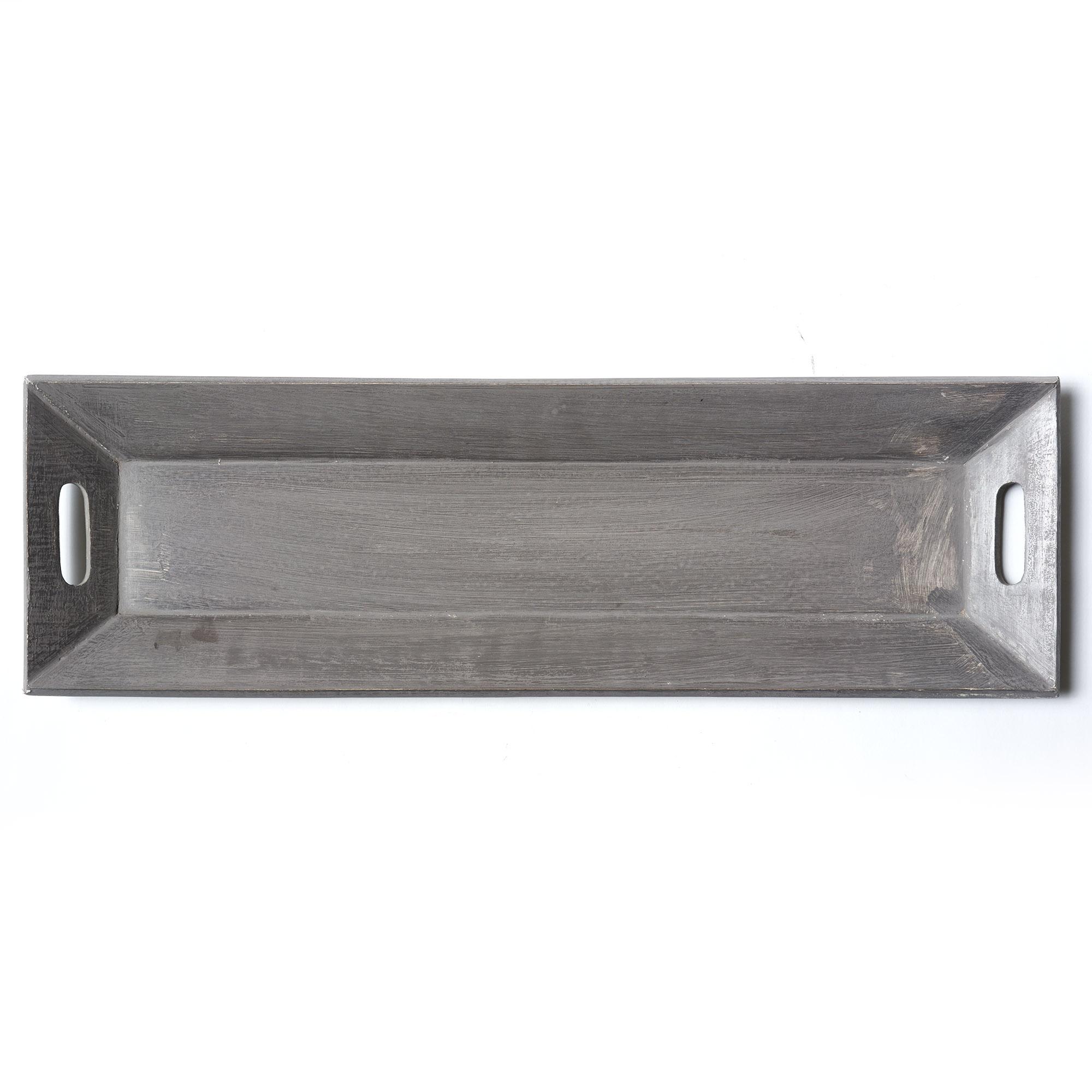 Bandeja de madera patinada gris 20 x 62.5 cm