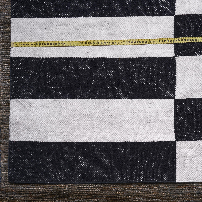Alfombra Dhurrie algodón, blanco y negro