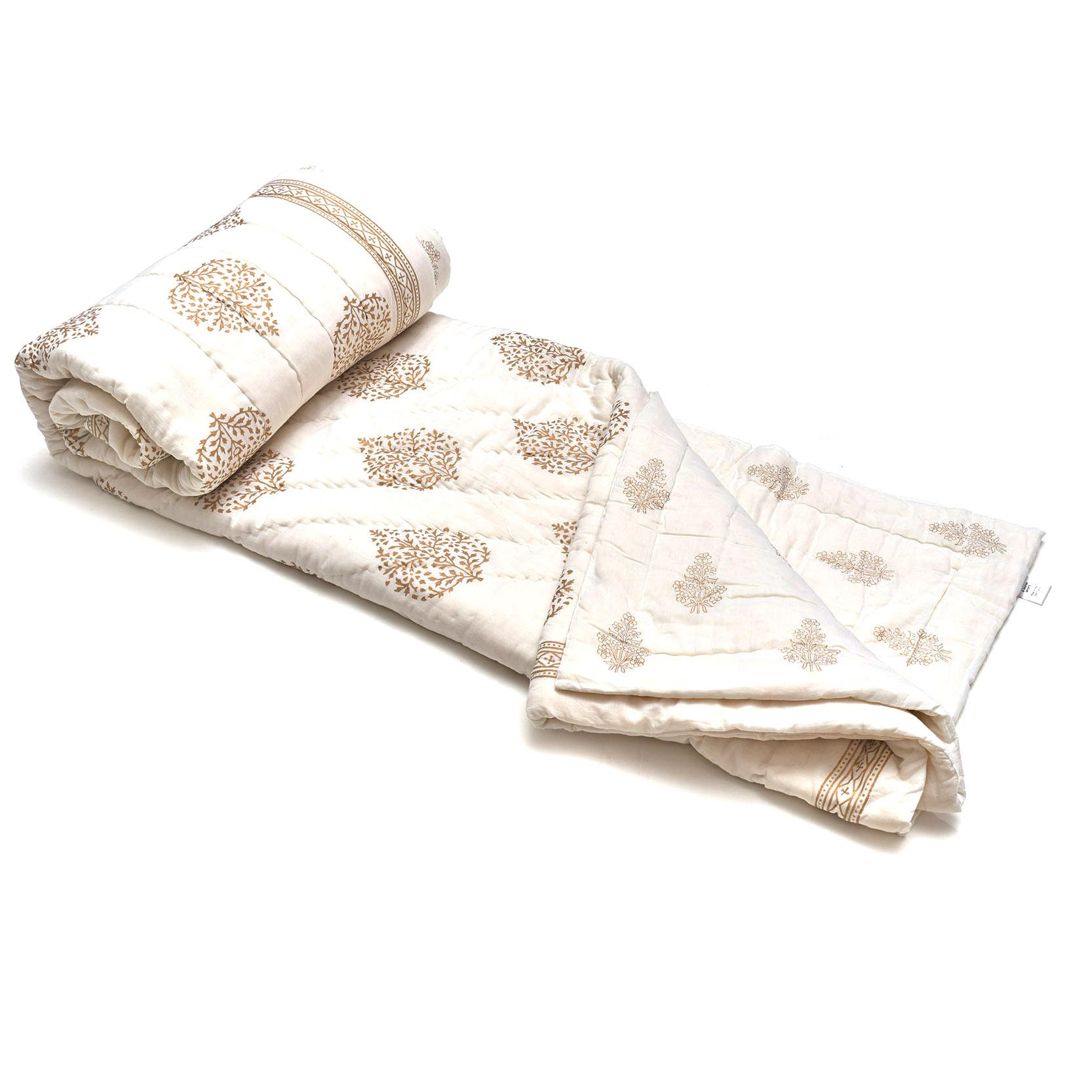 Acolchado reversible de algodón estampado a mano, dorado y blanco con 2 fundas de almohada