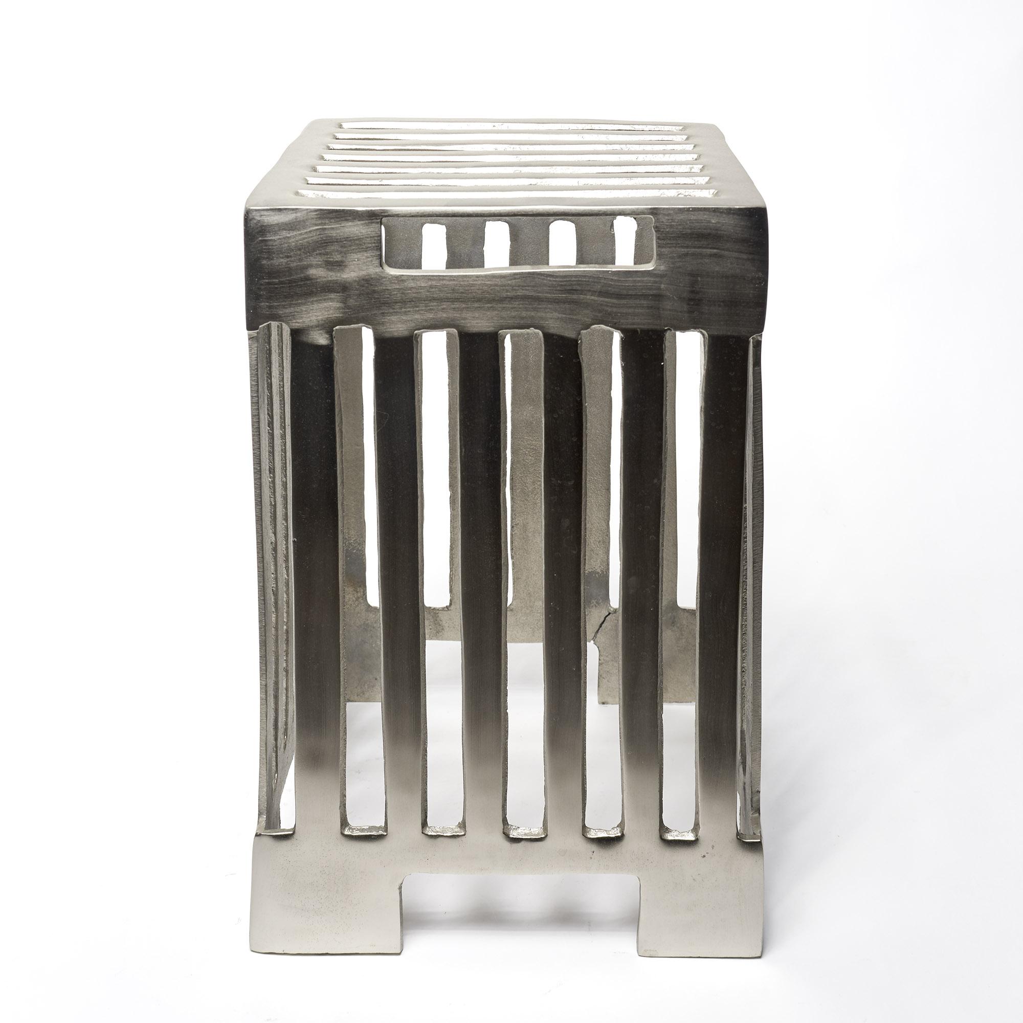 Mesa banco metal plateado barras
