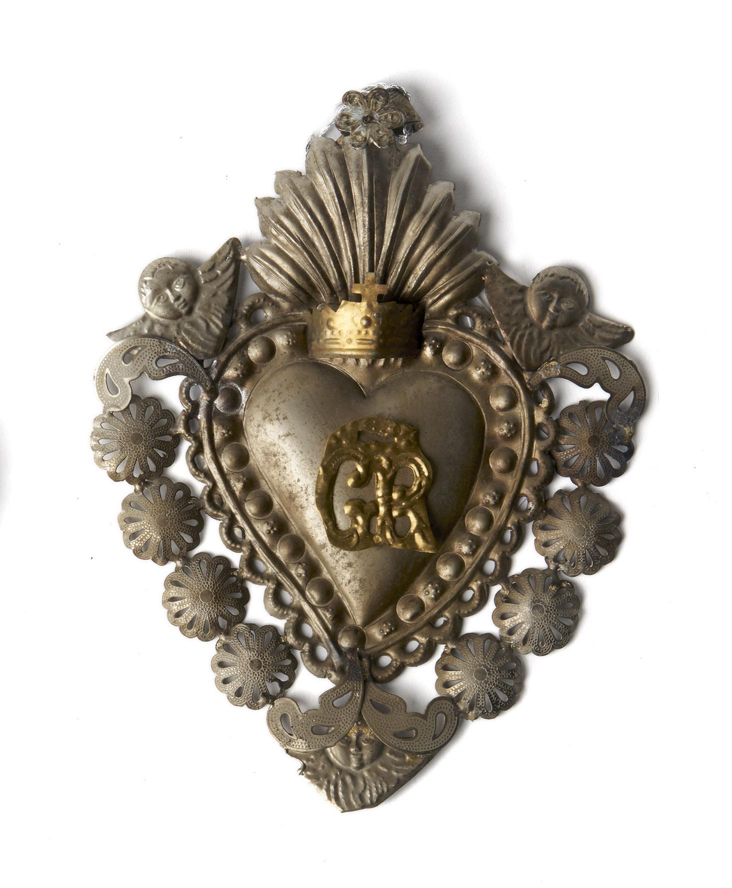 Corazón plateado y cobre