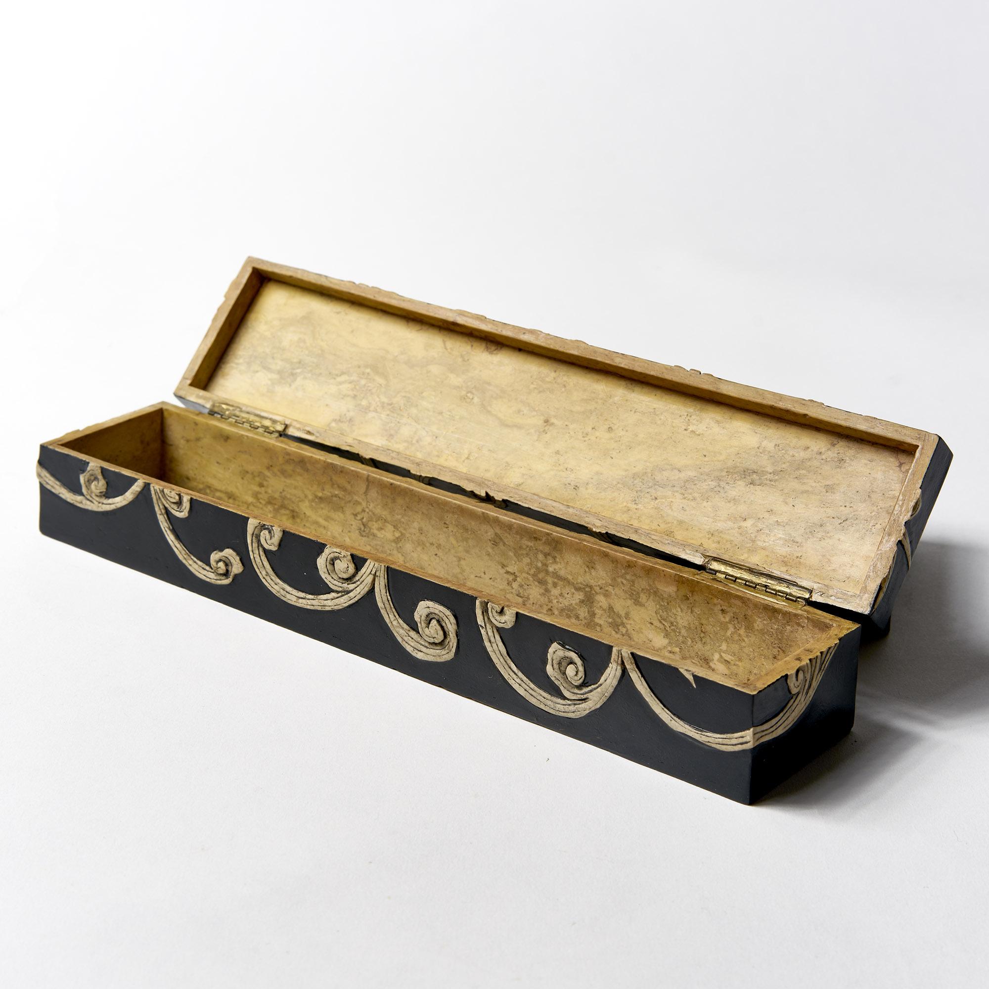 Caja piedra  rectangular negra pescados
