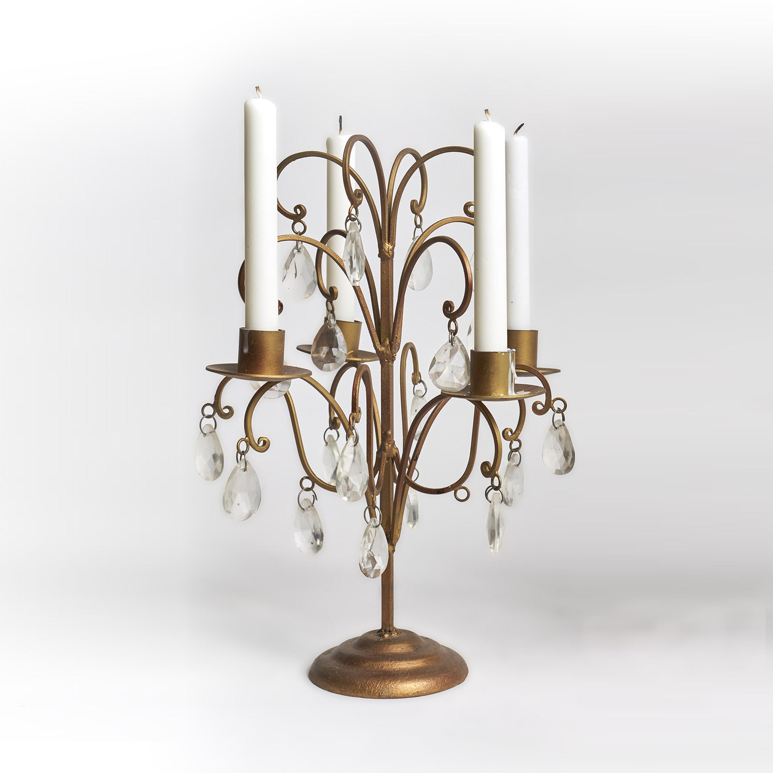 Candelabro de metal con caireles, para cuatro velas
