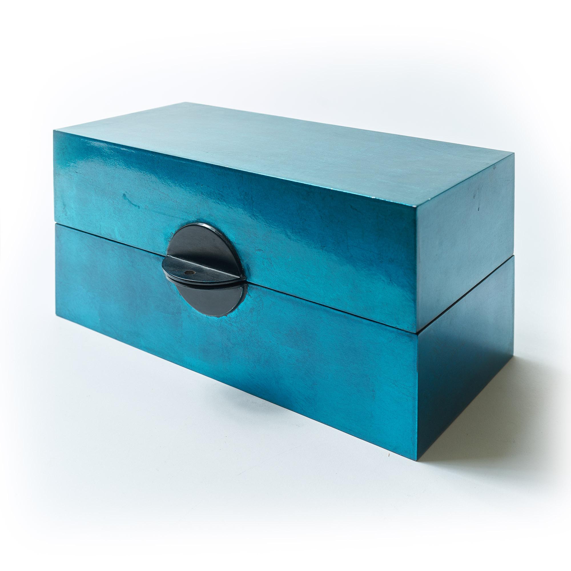 Caja laca rectangular turquesa