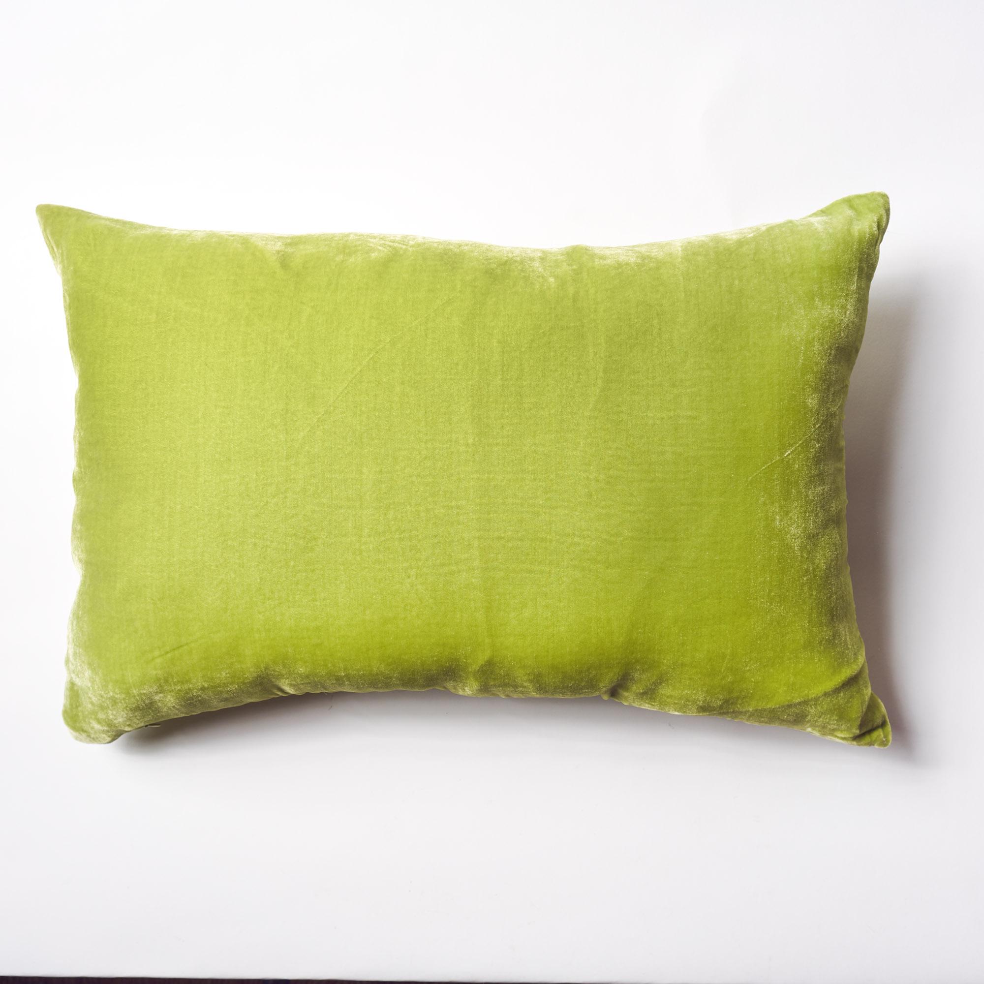 Almohadón de terciopelo, rectangular, verde lima