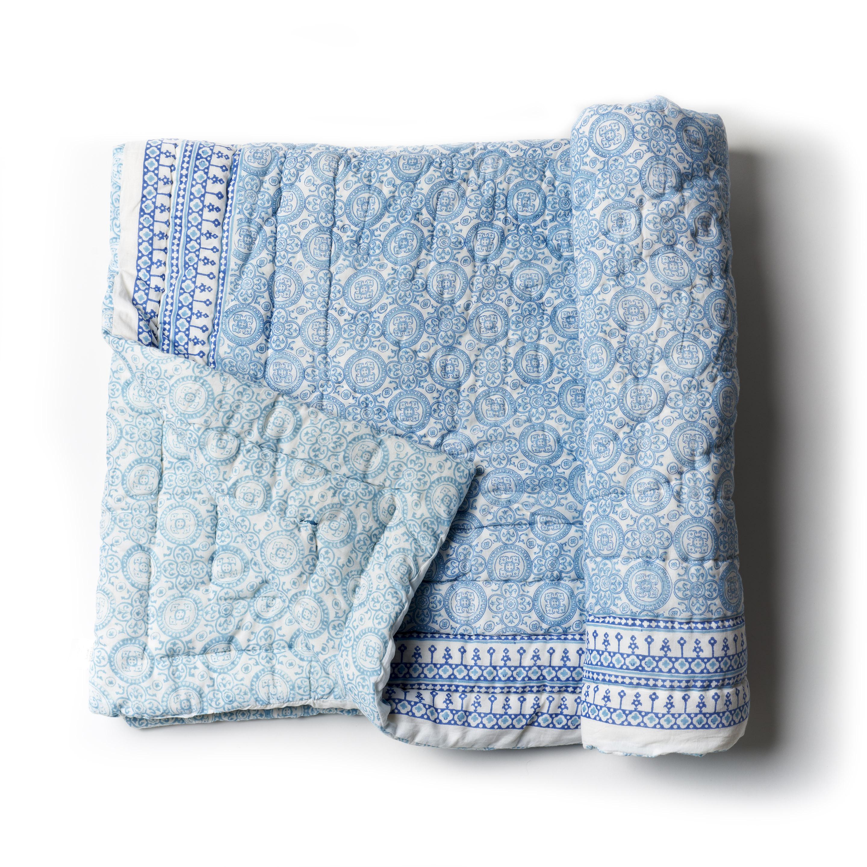 Acolchado reversible de algodón estampado a mano, celeste blanco y azul con 1funda de almohada